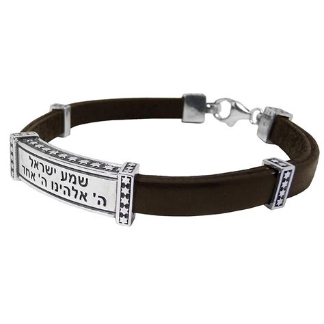 Shema Israel: Silver and Leather Bracelet with Stars of