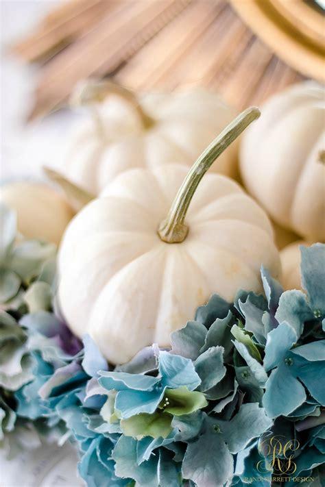 simple white pumpkin hydrangea arrangement randi garrett