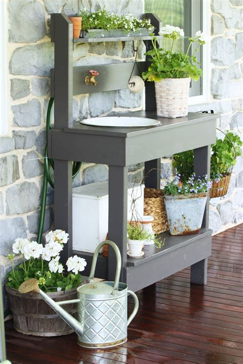 potting bench with sink the potting table stonegable