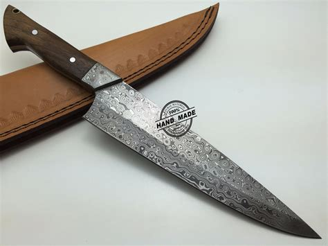 Custom Kitchen Knives - damascus kitchen knife custom handmade damascus steel kitchen
