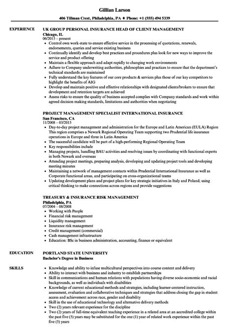 Insurance Resume Sle by Insurance Management Resume Sles Velvet