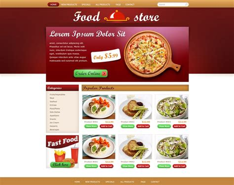 cuisine site free food store template free store templates