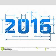 New Year 2016 Number With Dimension Lines Stock Vector  Illustration Of Creation, Plan 59258313