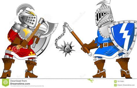 Two Cartoon Knights Fighting Vector Illustration