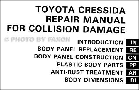 car service manuals pdf 1992 toyota cressida head up display 1989 1992 toyota cressida body collision repair shop manual reprint