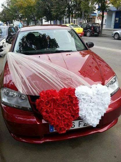 red white heart   wedding car decorations