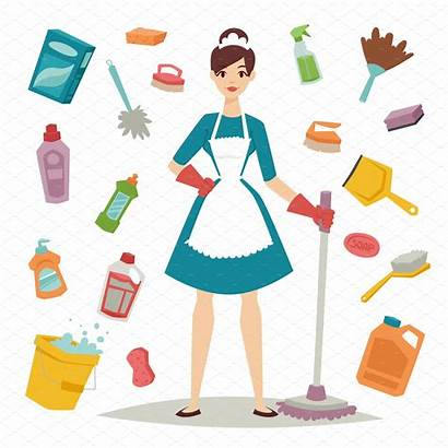 Cleaning Housewife Equipment Illustrations