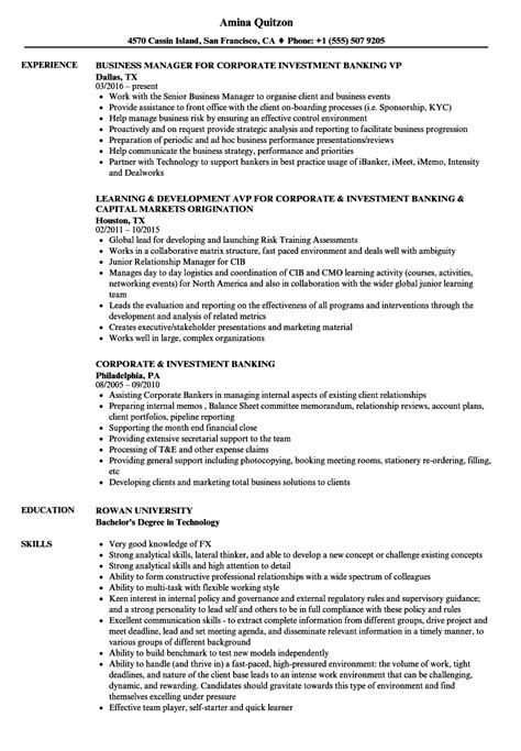 Corporate Banking Resume Template by Corporate Investment Banking Resume Sles Velvet Jobs