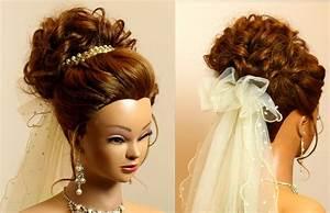 Bridal hairstyle for long medium hair tutorial Romantic wedding updo YouTube
