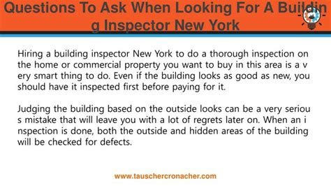 what to ask for after a home inspection ppt questions to ask when looking for a building inspector new york powerpoint presentation