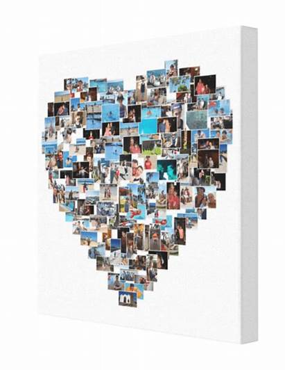 Heart Collage Shape Canvas Shaped 28x28