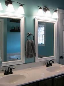 Framed bathroom mirrors powder room pinterest master for Bathroom morrors