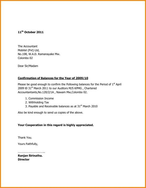 format  bank confirmation letter  balance