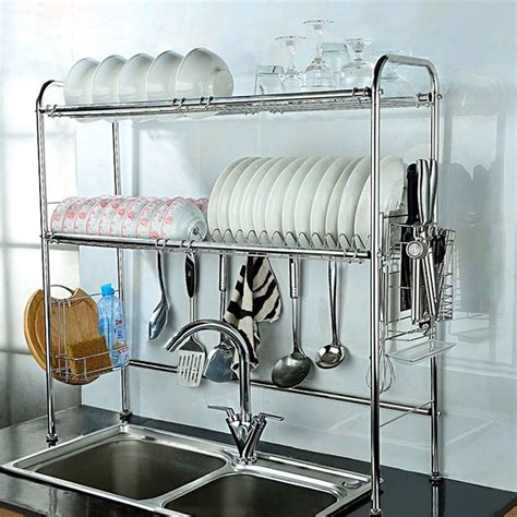 tier dish drying rack double slot stainless steel kitchen cutlery holder unbranded