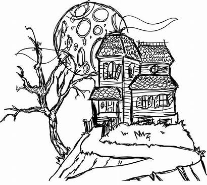 Haunted Drawing Coloring Pages Mansion Spooky Houses