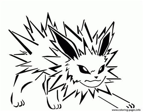 jolteon eevee evolutions coloring pages printable