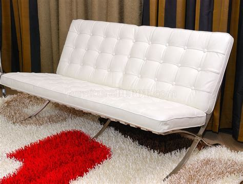Modern White Loveseat by White Button Tufted Leather Modern Loveseat