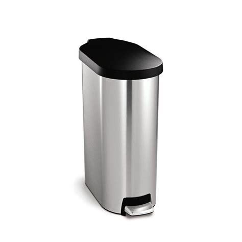 Slim Bathroom Trash Can With Lid by Simplehuman 45 Liter Slim Step Brushed Stainless Steel