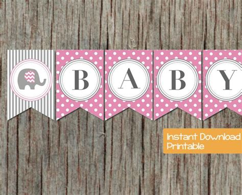 baby shower banner pink grey elephant bumpandbeyonddesigns