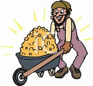 Miner with a Wheelbarrow Full of Gold - Royalty Free ...