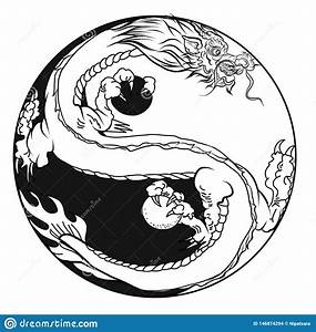 Hand Drawn Silhouette Dragon.Chinese Dragon Tattoo.Black ...
