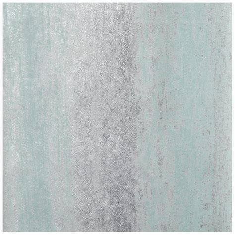 Sienna Stripe Ombre Duck Egg And Silver Metallic Wallpaper