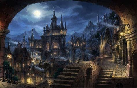 cityscape dark fantasy fantasy art wallpapers hd