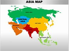 Central asia editable continent map with countries