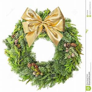 Christmas, Wreath, Pine, And, Spruce, Golden, Ribbon, Bow, Stock, Photo
