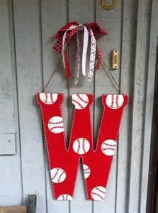 Wooden Baseball Door Hangers Painted