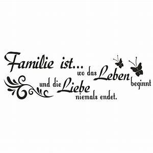 g576 Spruch Wandtattoo Familie ist wo das Leben Liebe