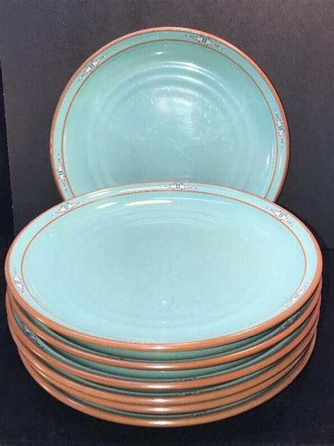noritake boulder ridge dinner plate set   southwest turquoise stoneware  noritake