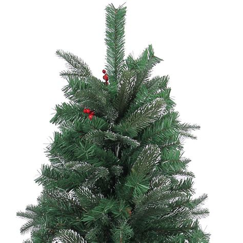 4ft artificial christmas tree frosted tips red pine cones and barries