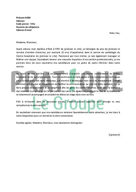 lettre de motivation cadre infirmier lettre de motivation pour un emploi de cadre infirmier confirm 233 pratique fr