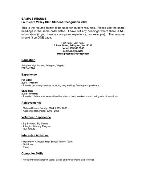 resume for teenager with no experience resume ideas