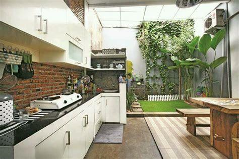 desain dapur terbuka halaman belakang rumah gambar