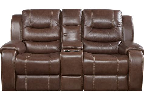 loveseat with storage compartment veneto brown leather reclining console loveseat leather