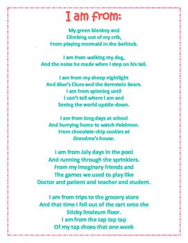 I Am Poem Template I Am Poem From Poem Template And Sle By Sweet Chic