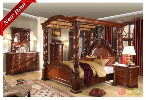Traditional Queen Poster Canopy Bed 5 Piece Cherry Bedroom