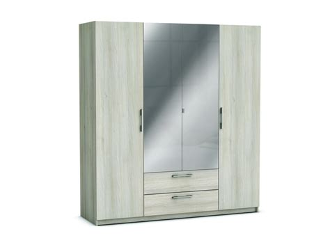 deco chambre adulte gris et blanc armoire 4 portes 2 tiroirs jupiter coloris acacia vente
