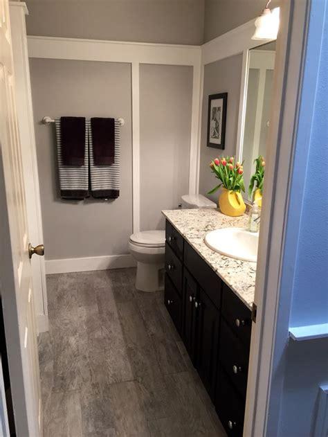 bathroom makeover paint color  behr gentle rain