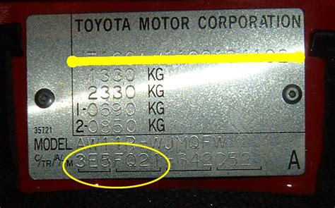 toyota company number toyota mr2 vin number location