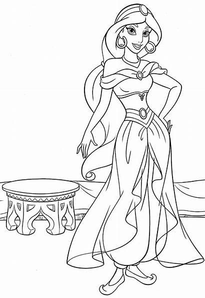 Coloring Jasmine Princess Disney Pages Characters Walt