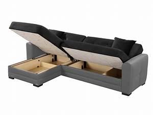 Canapé D Angle Convertible Coffre : canap d 39 angle r versible et convertible bi mati re 4 places avec coffre arthur noir gris ~ Teatrodelosmanantiales.com Idées de Décoration