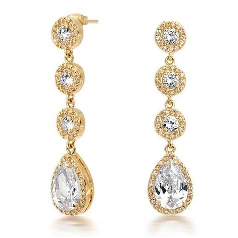 vintage gold crown set cz pave teardrop chandelier earrings