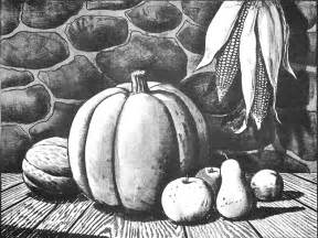 Pencil Drawing Fall Harvest Scenes