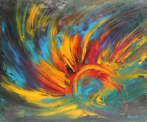 peintures a l huile sur toile tableau quot eveil quot 60x50 cm peinture abstraite contemporaine 224 l huile sur toile de micha 235 lle
