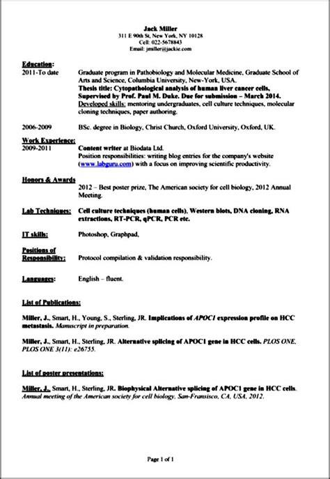 professional academic resume free sles exles