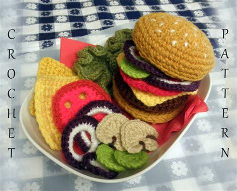 crochet cuisine hamburger play food pdf crochet pattern