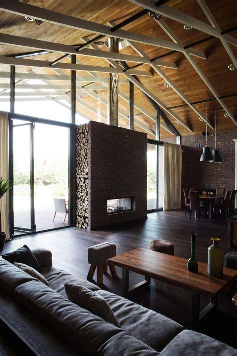exposed trusses create artistic composition  brick